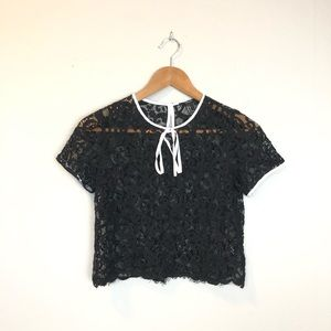 Forever 21 Black Lace Crop Top With White Trim S